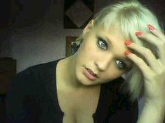Blonde girl Angelina masturbates on Chatroulette