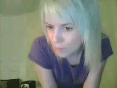 Skinny blonde rubbing clit on Skype