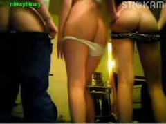 Three girls flashing on Stickam