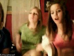 Two girlfriends flashing on webcam