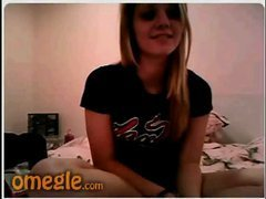 Funny blonde flashing on webcam