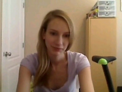 Skinny blonde strip on Skype