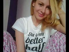 Morning masturbation on webcam with busty blonde