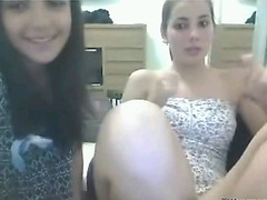 Two shameless teens flashing on Bazoocam