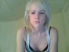 Snow white blonde rubbing on webcam