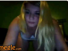 Busty blonde strip and showing pussy on Omegle