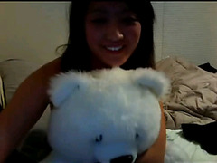 Shy Asian teen strip and masturbates on Skype