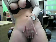 Office girl strip on Skype after work
