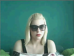 Blonde in sunglasses flashing on Chatroulette