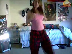 Self shot teen strip and dance on homemade video