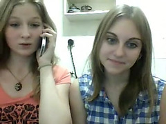 Two Russian teens flashing on Chatroulette