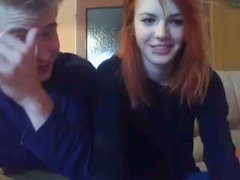 Redhead teen gives blowjob and taking cunnilingus